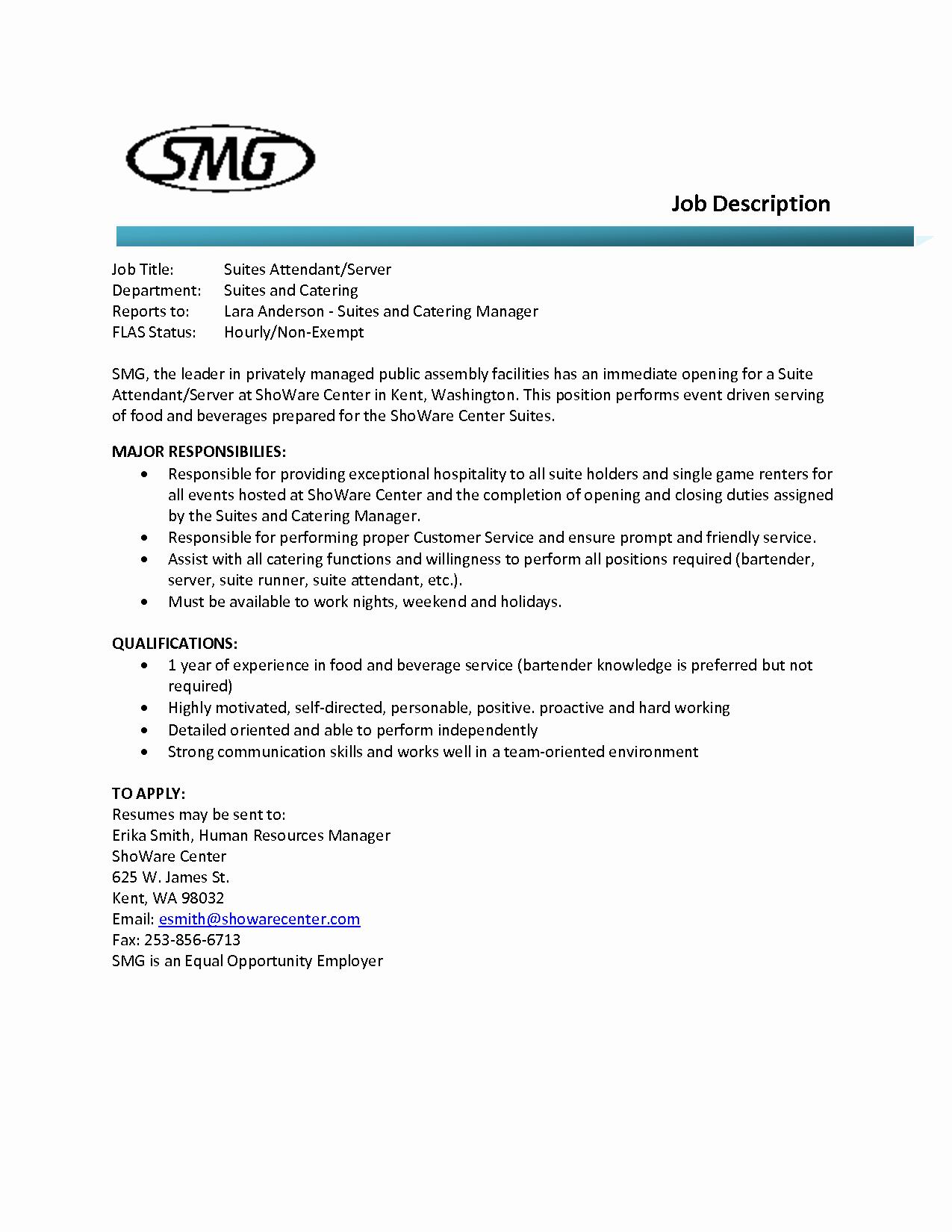 Bar Manager Job Description Resume Lovely Food and Beverage attendant Resume Cover Letter Samples