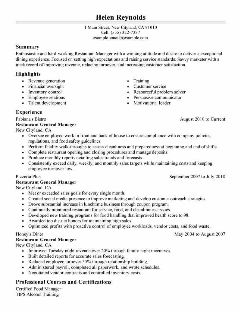 Bar Manager Job Description Resume Luxury Best Restaurant Manager Resume Example