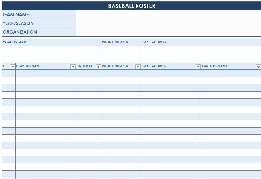 Baseball Card Inventory Excel Template Unique Baseball Roster Template