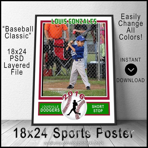 Baseball Card Size Template Luxury 2017 Baseball Poster Template for Shop 18x24 Size Create