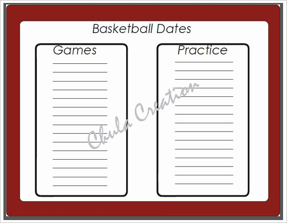sample basketball schedule