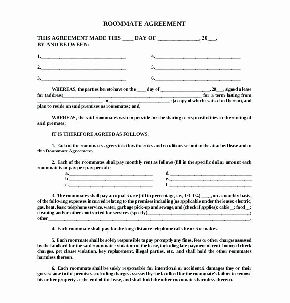 Big Bang theory Roommate Agreement Pdf Lovely Roommate Agreement Template form Contract Word
