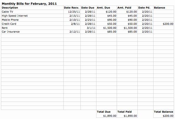 Bill Pay Spreadsheet Beautiful Monthly Bills Spreadsheet Template
