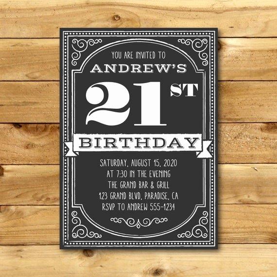 Birthday Chalkboard Template Inspirational Birthday Invitation Printable Vintage Chalk Style Template