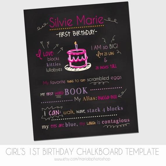 Birthday Chalkboard Template Inspirational Items Similar to Girl S First Birthday Chalkboard Template