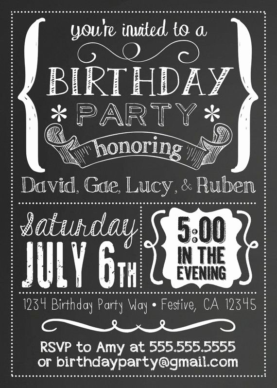 Birthday Chalkboard Template Lovely Printable Chalkboard Black & White Party by