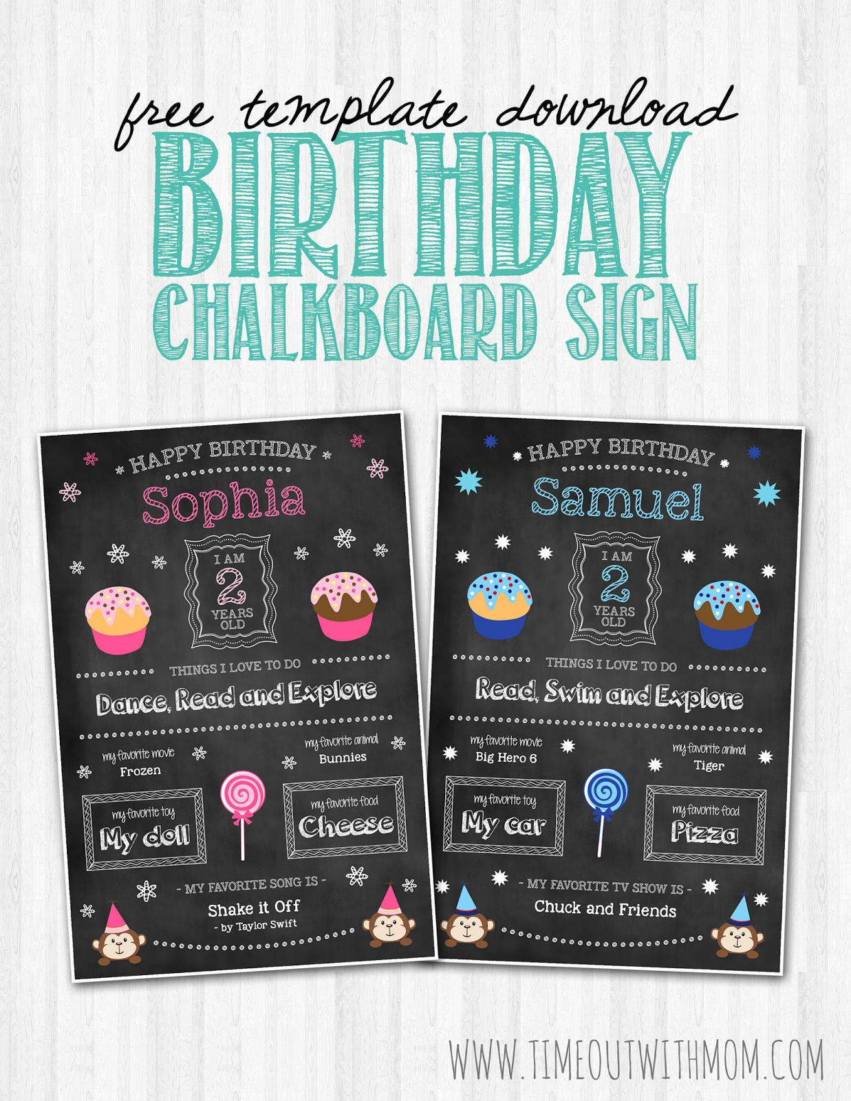Birthday Chalkboard Template New Birthday Chalkboard Sign Template and Tutorial