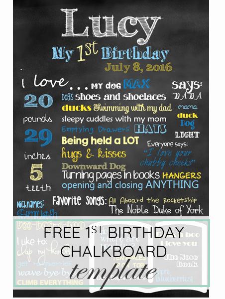 Birthday Chalkboard Template Unique First Birthday Chalkboard Template Free Download for Baby