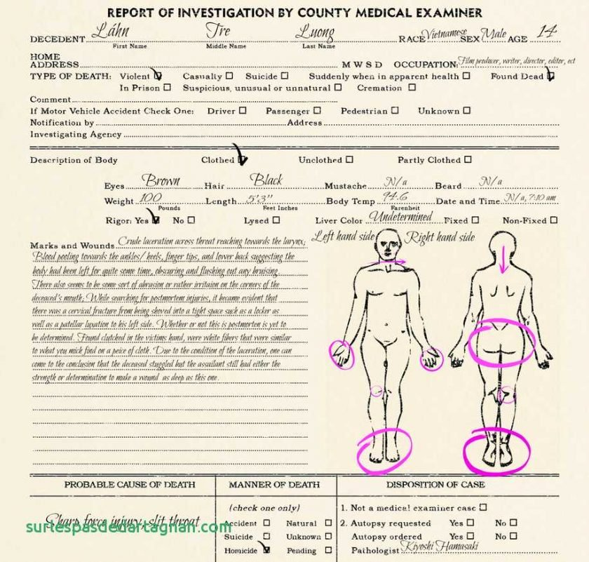 blank autopsy report template awesome autopsy report template ideal