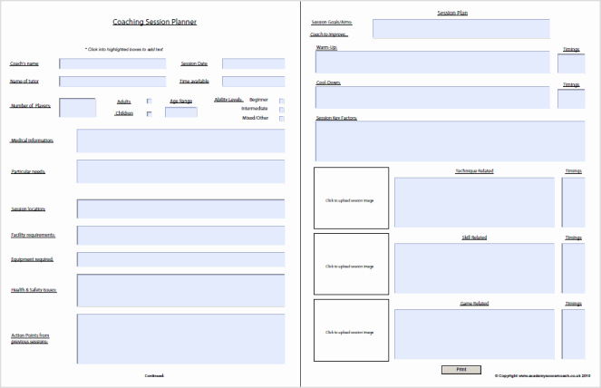 Blank Football Practice Plan Template Elegant Interactive Session Plans™ Academy soccer Coach