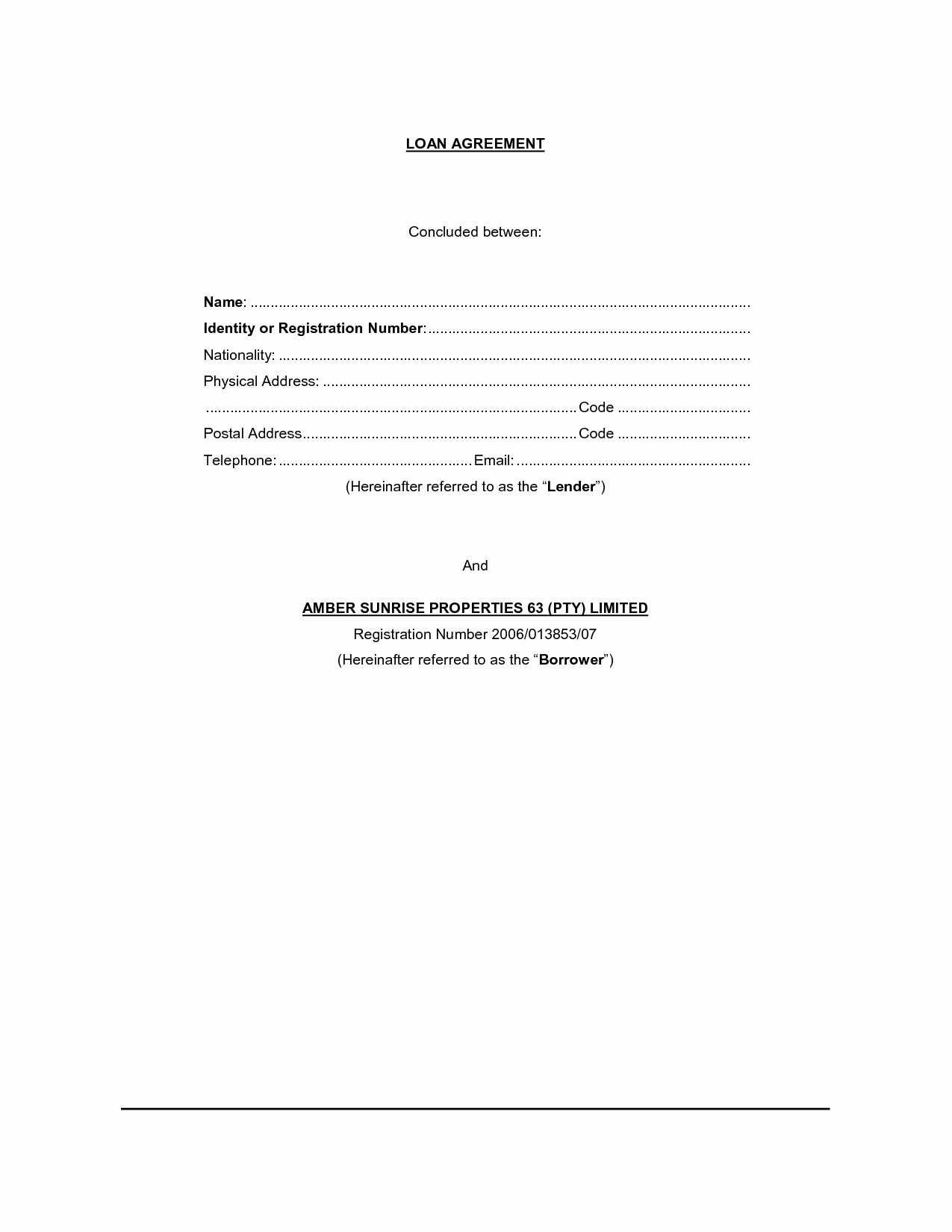Blank Loan Contract Best Of Free Printable Loan Contract Template form Generic