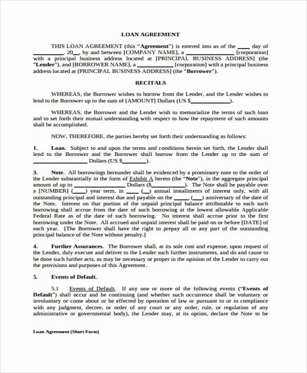 Blank Loan Contract Elegant Loan Agreement form Template