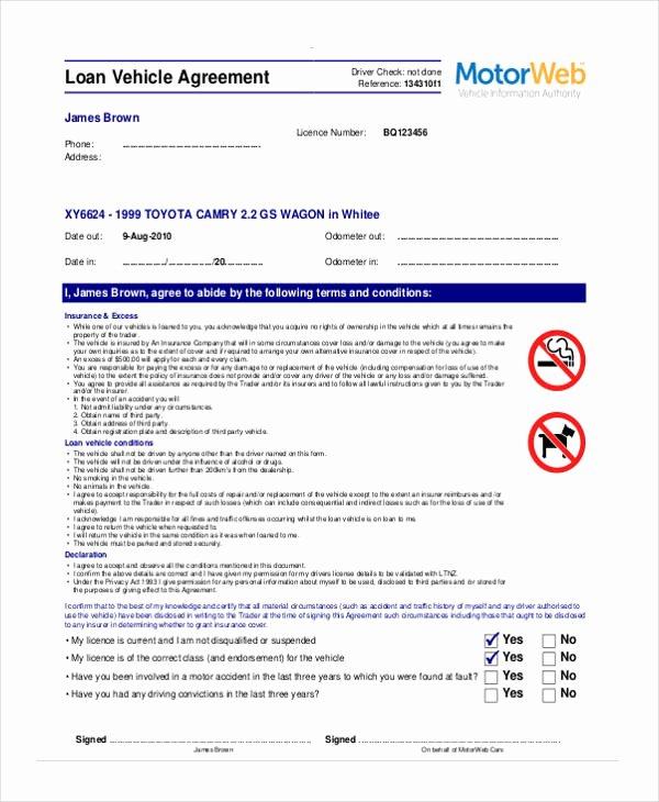 Blank Loan Contract Fresh Free Loan Agreement form
