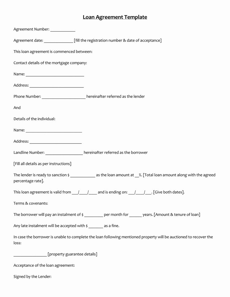 Blank Loan Contract New 45 Loan Agreement Templates & Samples Write Perfect