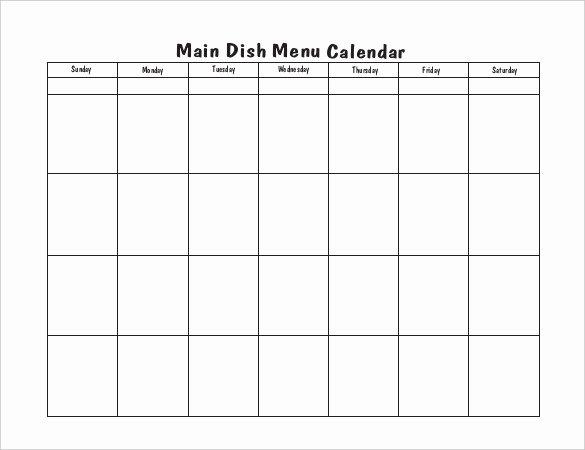 Blank Menu Template Fresh Menu Calendar Templates 10 Printable Pdf Documents
