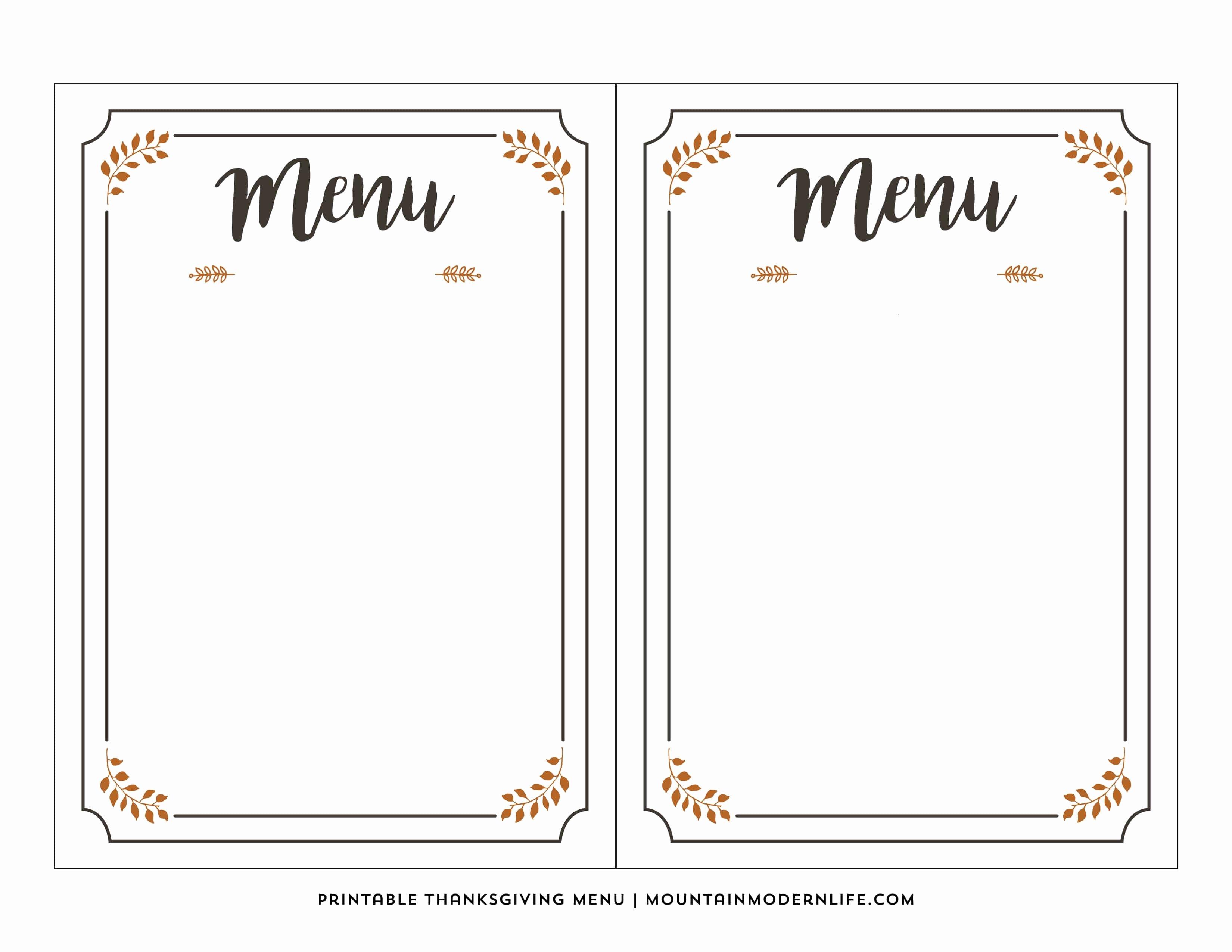 Blank Menu Template New Free Printable Thanksgiving Menu