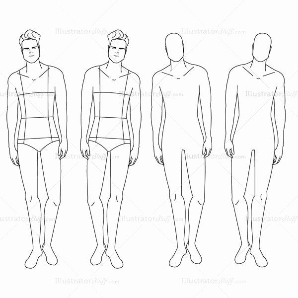 male fashion croquis template 4