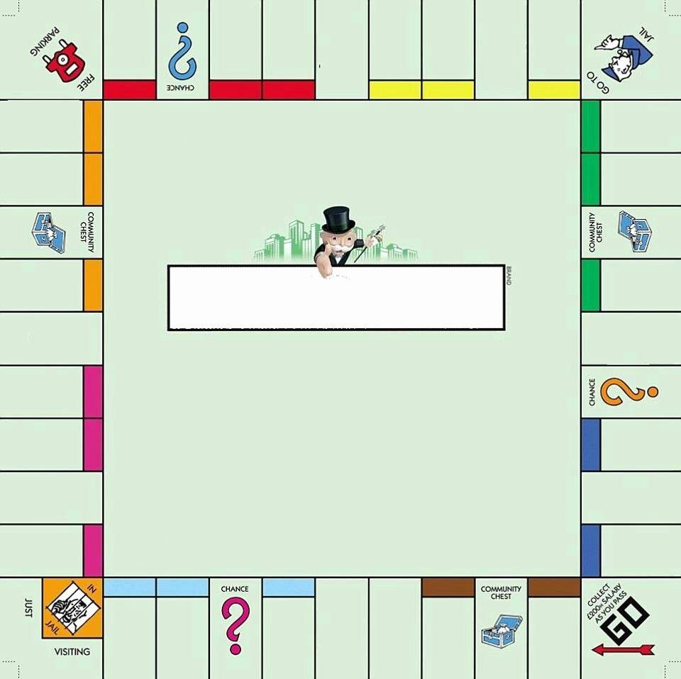 Blank Monopoly Board Inspirational Empty Monopoly Board