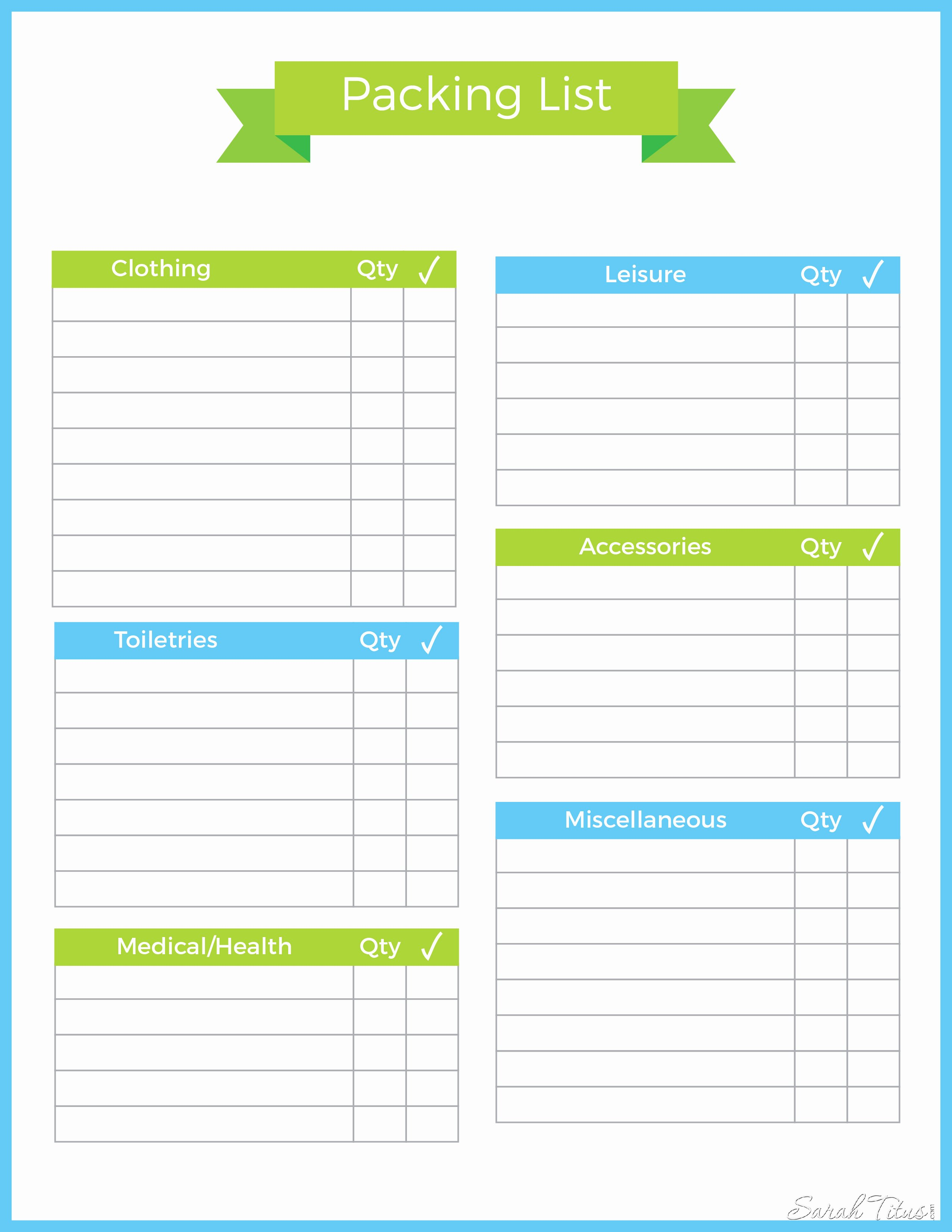 Blank Packing List Template Fresh Travel Binder Packing List Sarah Titus