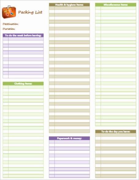 Blank Packing List Template Luxury Simplify Vacation Preparation with A Packing List