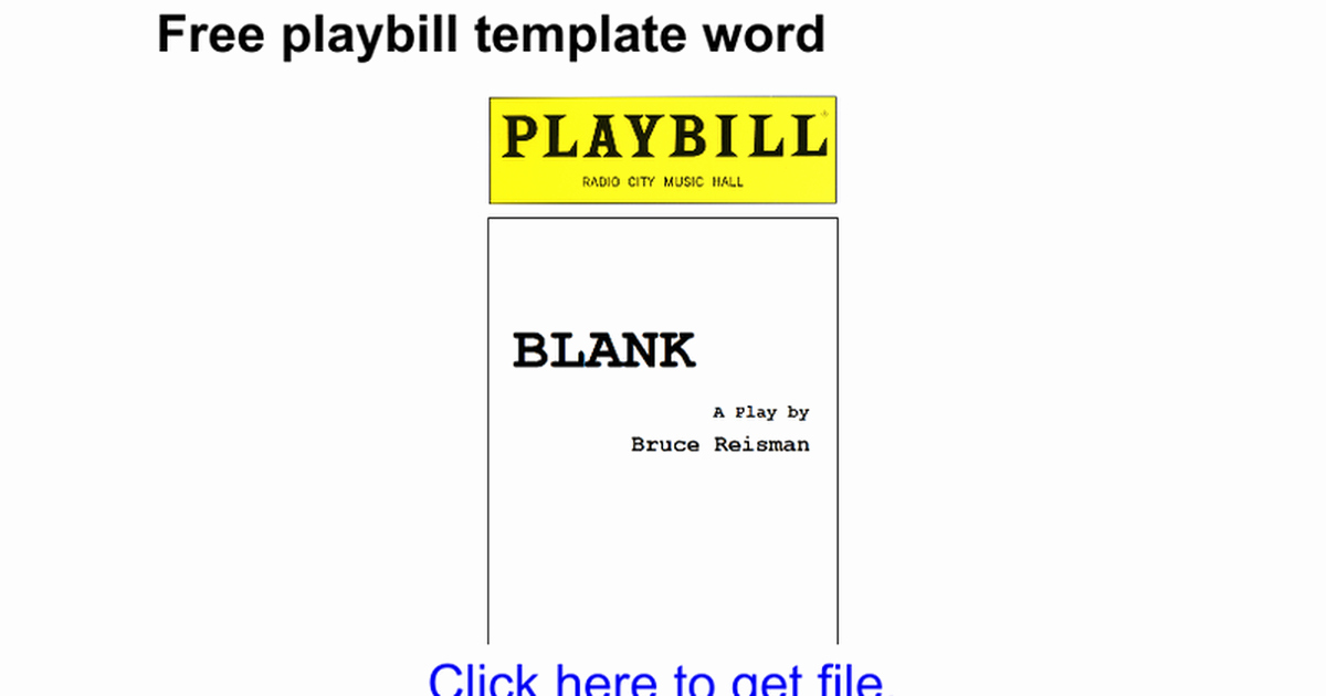 Blank Playbill Template Elegant Playbill