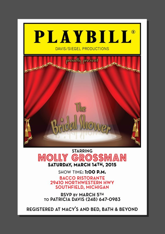 Blank Playbill Template Elegant Playbill theater Wedding Bridal Shower Broadway New York