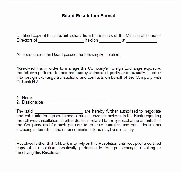 Board Of Directors Resolution Elegant 7 Board Resolution Samples Pdf Doc