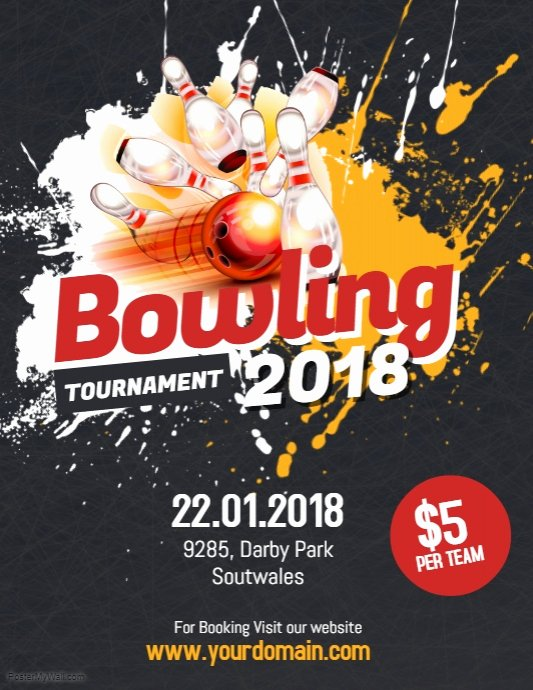 Bowling Flyer Template Free Inspirational Bowling tournament Flyer Poster Template