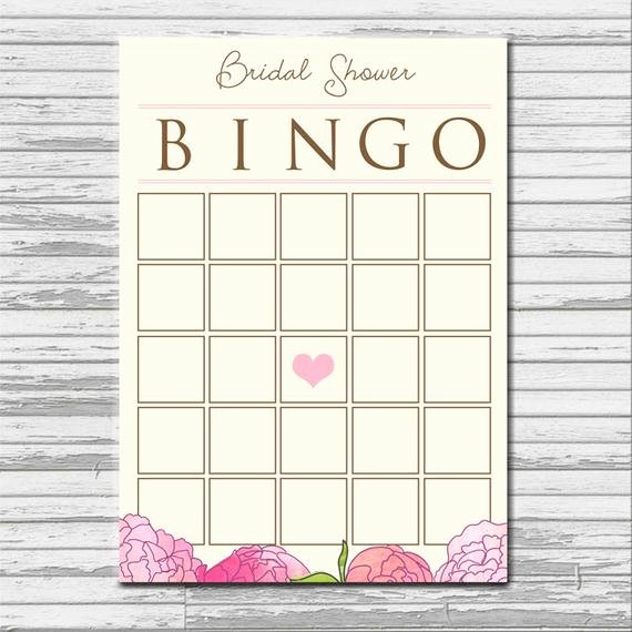 Bridal Bingo Template Awesome Bridal Shower Bingo Card Instant Printable Blank