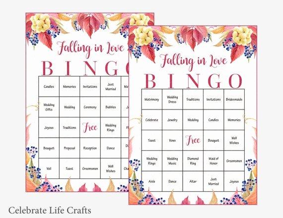 Bridal Bingo Template New 60 Falling In Love Wedding Bingo Cards Fall Bridal