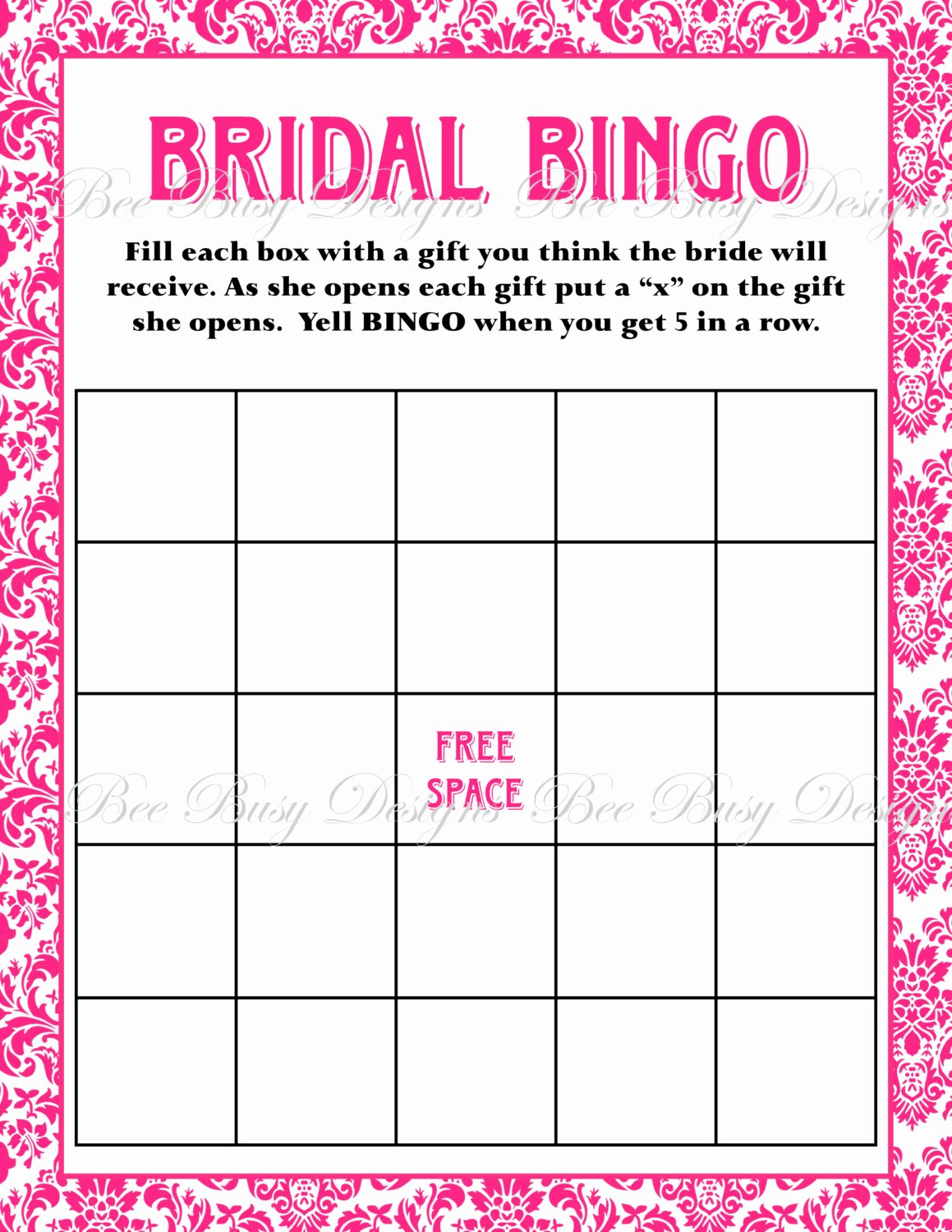 bridal bingo template