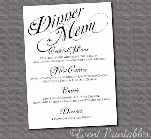post free printable dinner menu cards