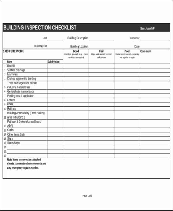 Building Security Checklist Fresh 23 Inspection Checklist Samples & Templates Pdf Word
