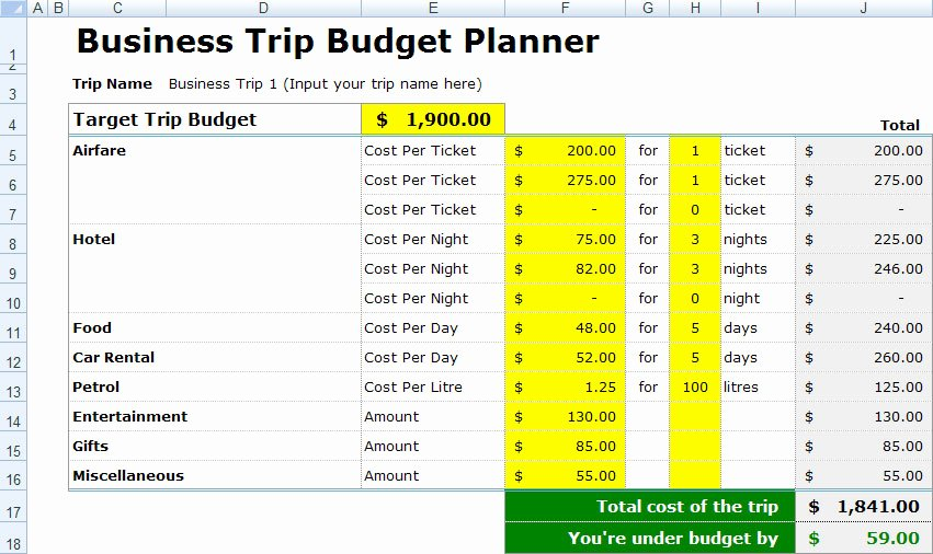 Business Budget Excel Template Elegant Download Travel Expense form Free Template Free Piratebayil