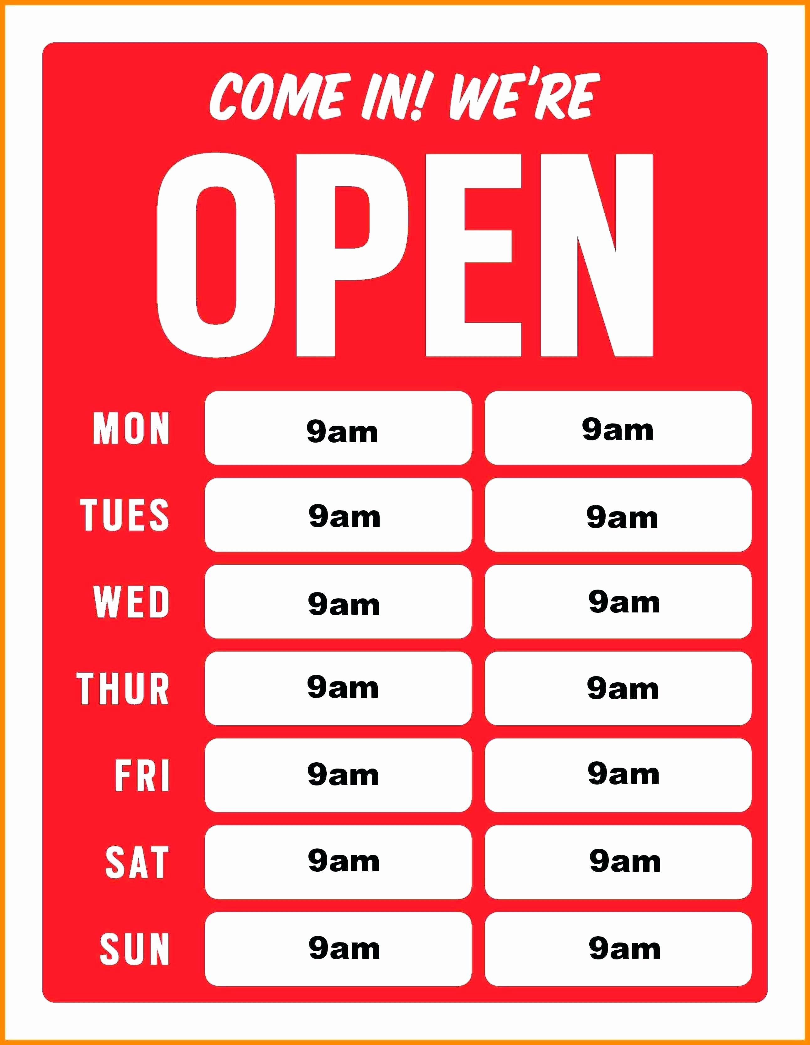 Business Hours Sign Template Free Inspirational Printable Business Hours Sign Template Best Printable