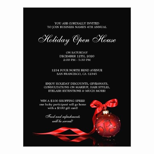 Business Open House Flyer Template New Business and Store Holiday Open House Flyer