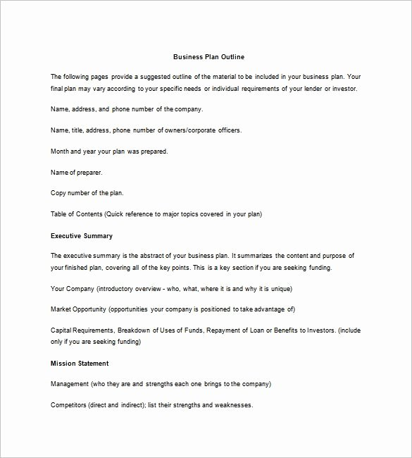 Business Summary Example Best Of Business Plan Outline Template 22 Free Sample Example