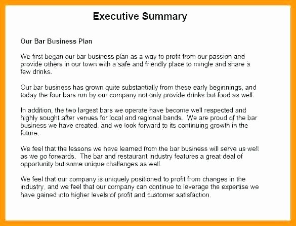 Business Summary Example Inspirational Executive Summary Of Business Plan Sample Sample Of