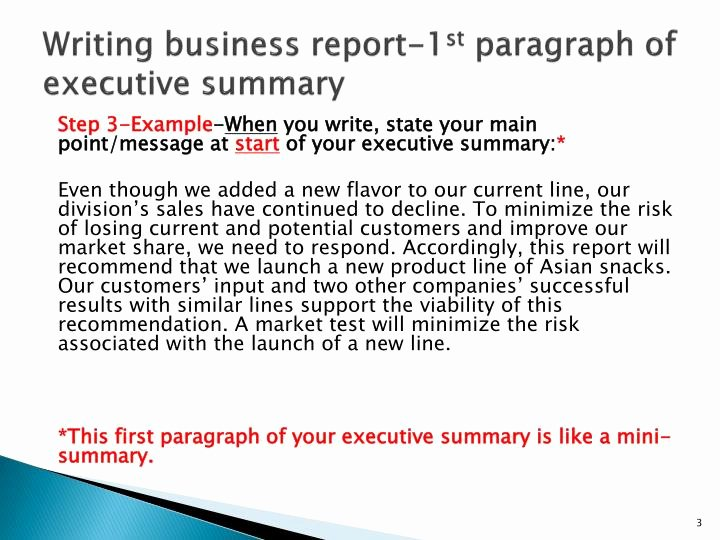 Business Summary Example Inspirational Ppt Writing Business Report 1 St Paragraph Of Executive