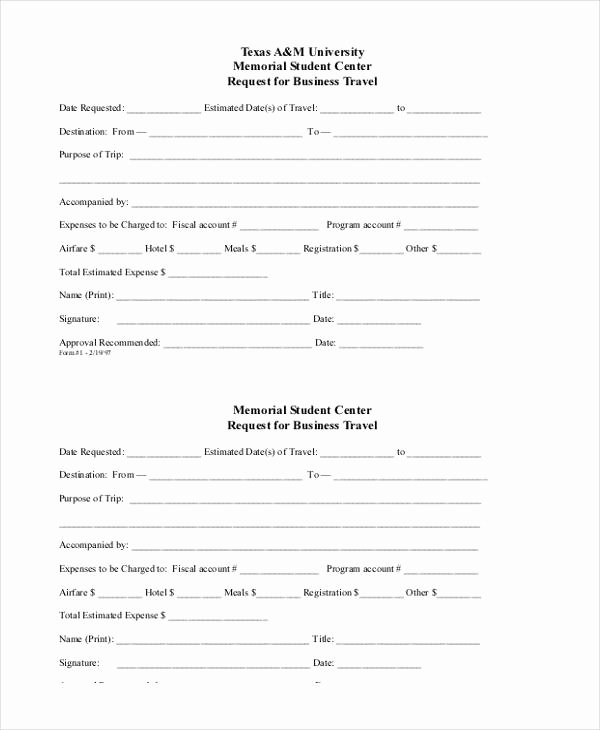 Business Travel Request form Template New Sample Travel Request form