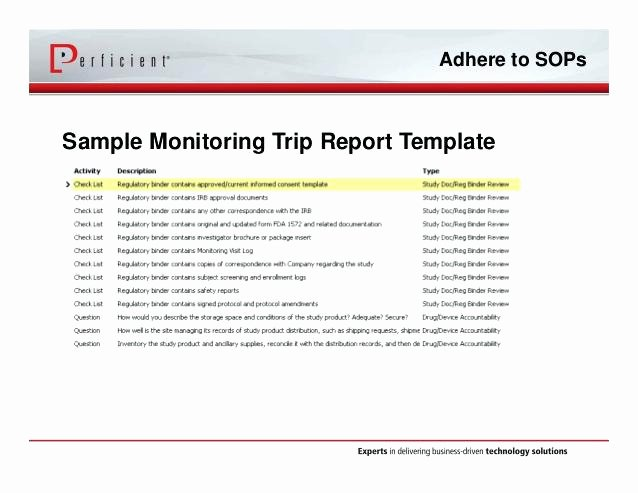 supplier site visit report template