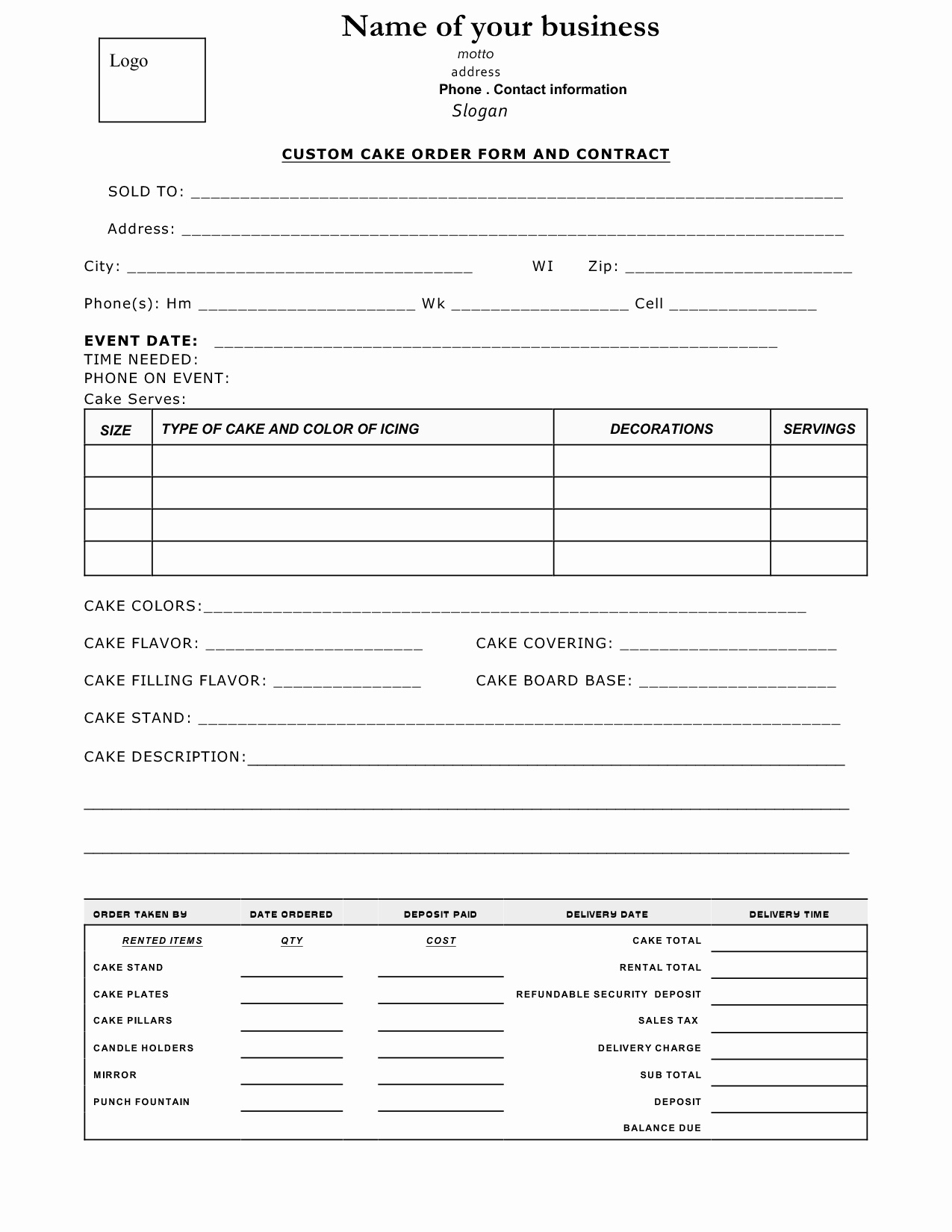 Cake order forms Printable Inspirational Cake Contract Sample Cakepins