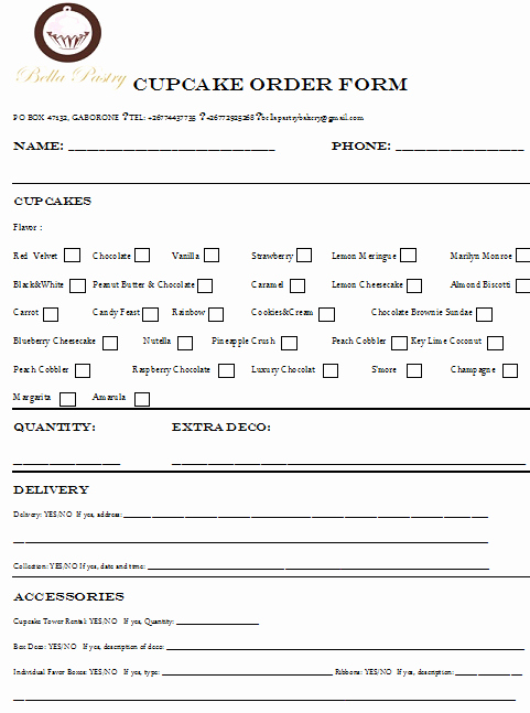 Cake order forms Printable Lovely Cupcakes