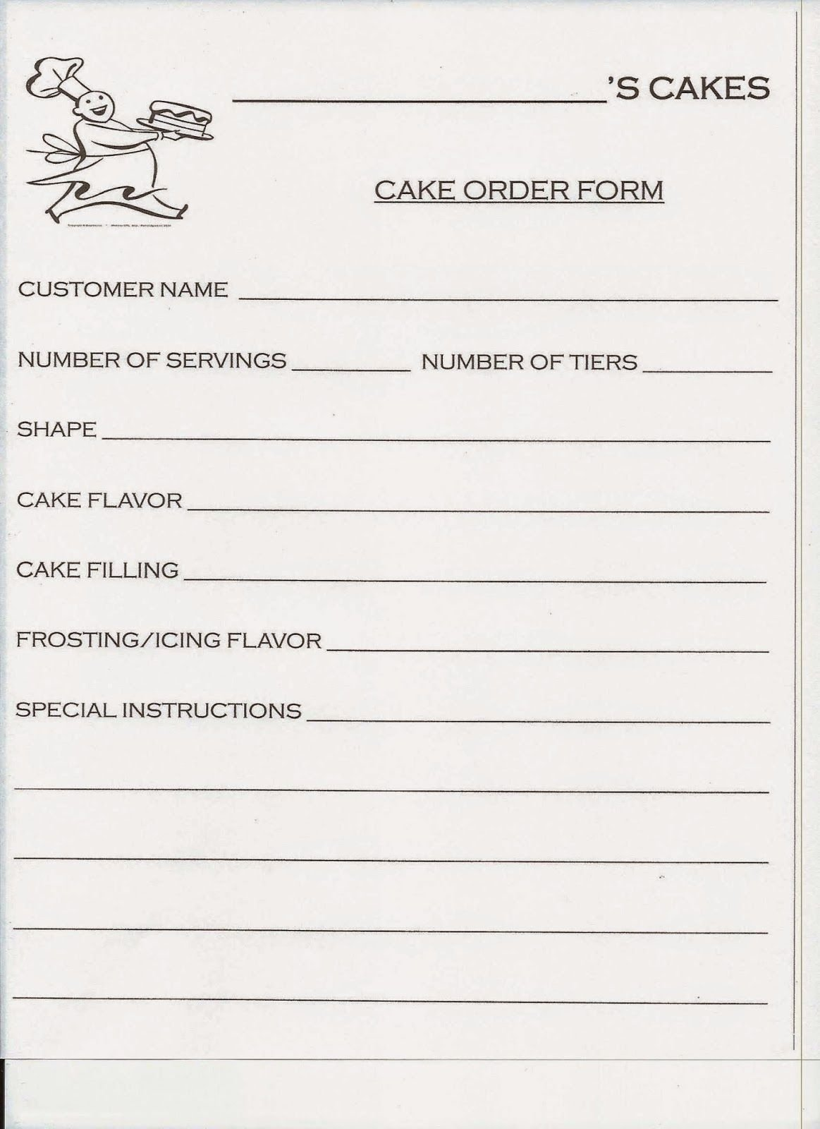 Cake order forms Printable Luxury Spark and All Jake Bakes Cakes Cake order form