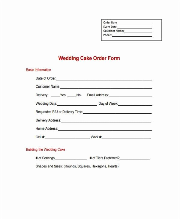 Cake order forms Printable New Simple order forms