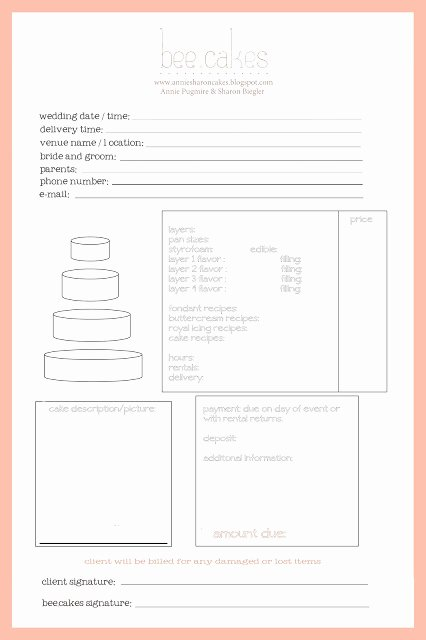 Cake order forms Templates Awesome Cake Invoice Cake Ideas and Designs