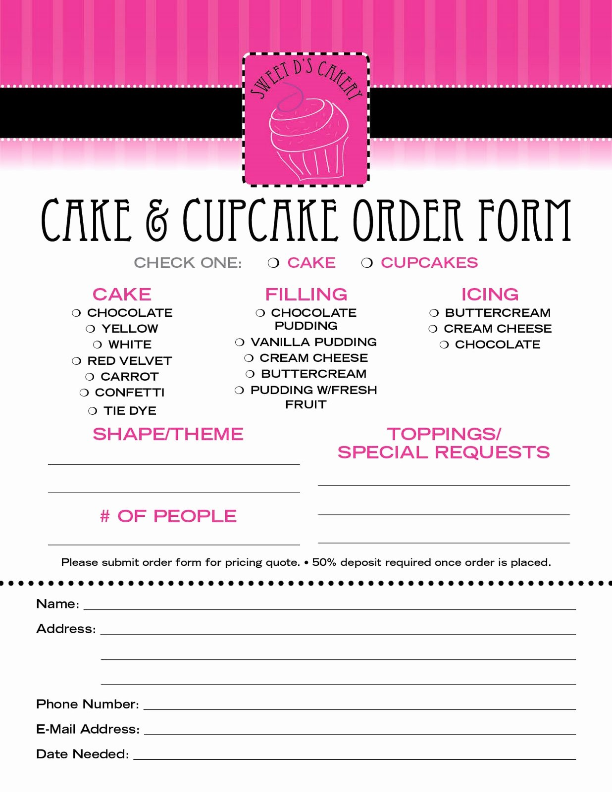 Cake order forms Templates Elegant Sweet D S Cakery Download Our order form Here