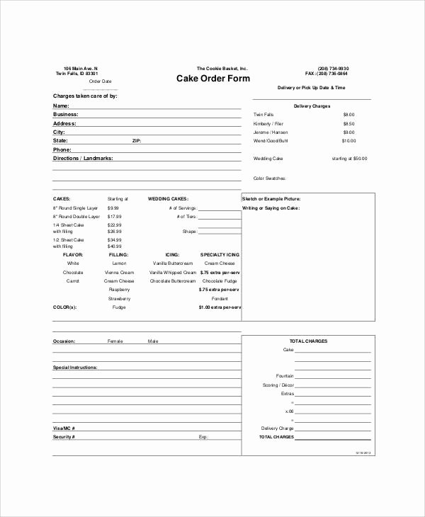 Cake order forms Templates Inspirational Sample Free Printable order form 9 Examples In Word Pdf