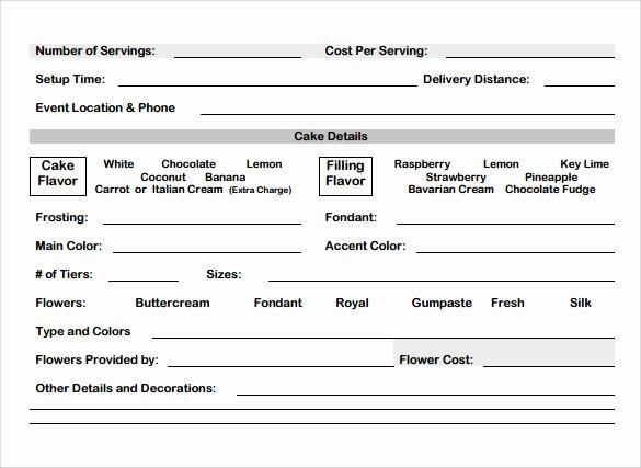 sample cake order form template