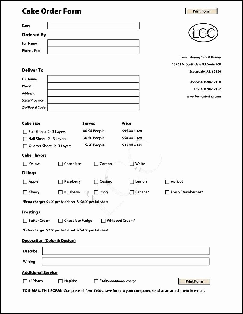 Cake order forms Templates Luxury Cake order form Template Free